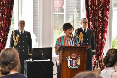Dame Patsy speaks at a forum for young artists at Government House