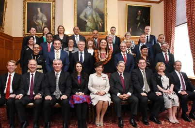 an image of Dame Patsy, Prime Minister Jacinda Adern and Cabinet