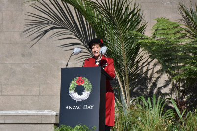Dame Patsy delivering the Anzac Address at the National Service