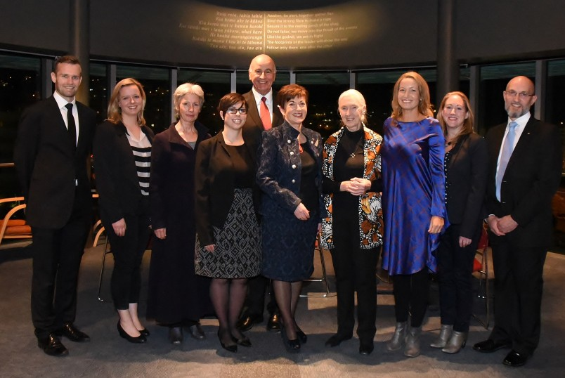 An image of the official party at the Jane Goodall Institute Launch
