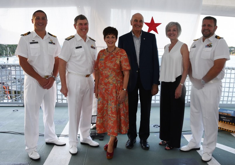Lt Cdr Matt Kaio, Rear Admiral John Martin, The Rt Hon Dame Patsy Reddy, Sir David Gascoigne, Mrs Sue Martin, and Cdr Simon Rooke.