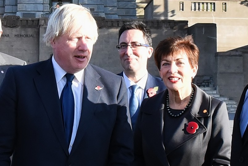 An image of The Rt Hon Boris Johnson, HE Jonathan Sinclair and Dame Patsy