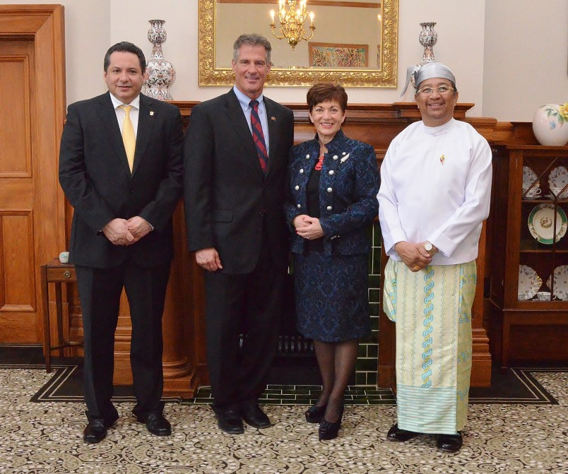 The Governor General with the Ambassadors of the United States of America, Panama and Myanmar