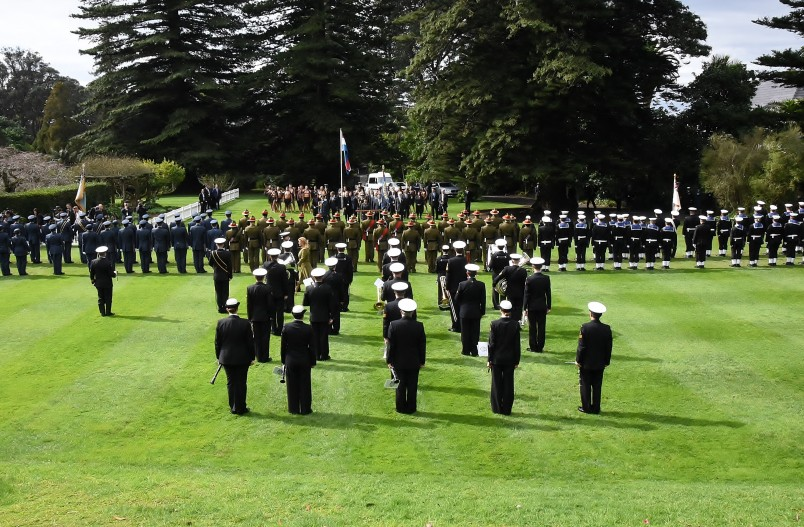Image looking over the lawn at Government House during the State Welcome ceremony