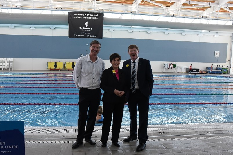 An image of Dame Patsy with Alex Baumann, CEO High Performance Sport NZ and Mike Stanley, CEO AUT Millenium Institute