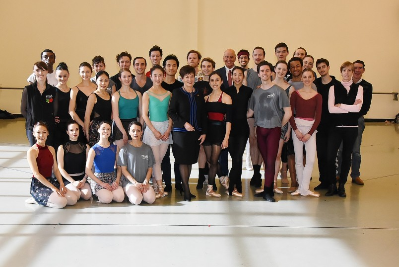 Image of Dame Patsy and Sir David with the Royal New Zealand Ballet