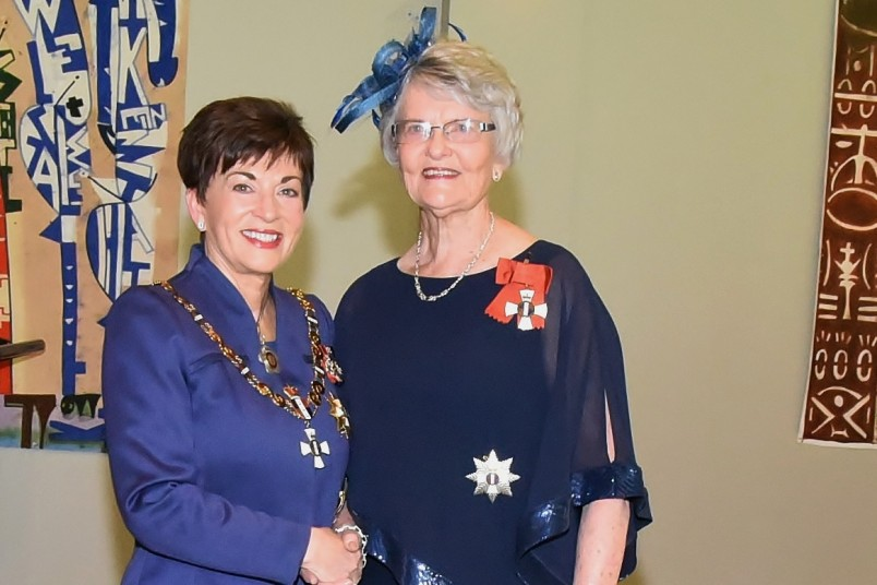 An image of Dame Patsy and Emeritus Professor Dame Peggy Koopman-Boyden, DNZM, of Hamilton, for services to seniors