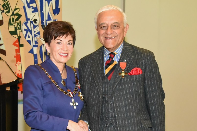 An image of Dame Patsy with Professor Hamid Ikram, of Christchurch, ONZM for services to cardiology and education