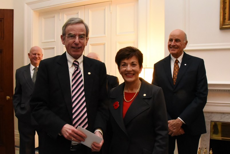 An image of Dame Patsy with Professor Stephen Levine, judge of the essay-writing competition