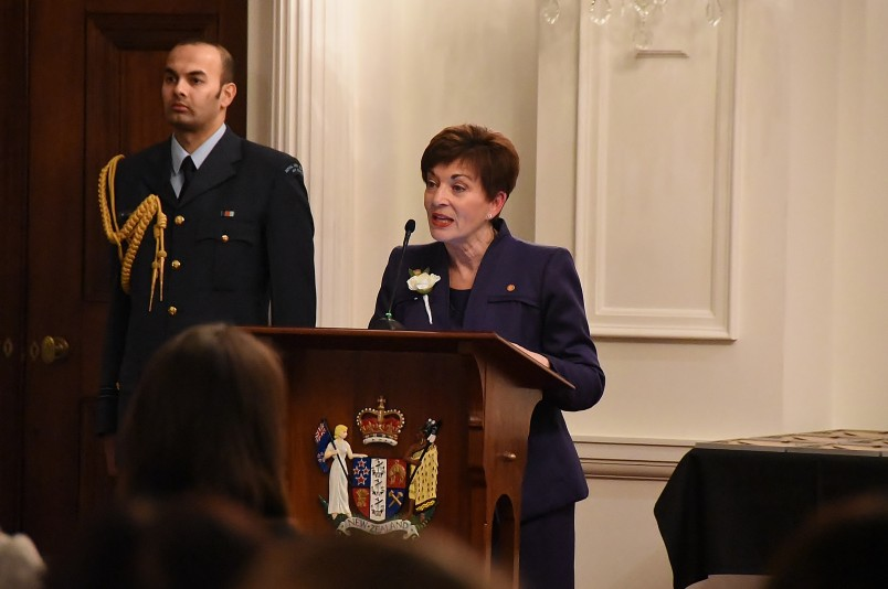 Image of Dame Patsy speaking at the White Camellia Awards