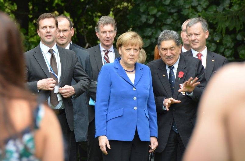 Image of Lewis Moeau and Chancellor of Germany, Angela Merkel