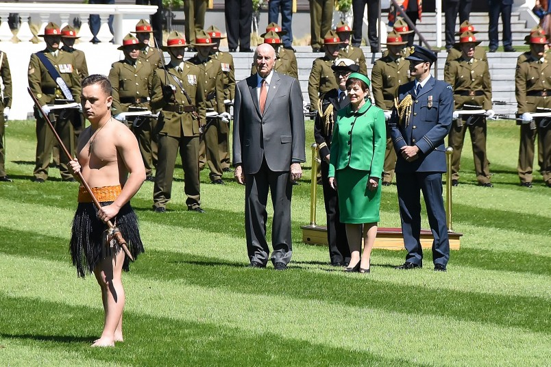 Image of Dame Patsy and Sir David awaiting the arrival of the President of Ireland
