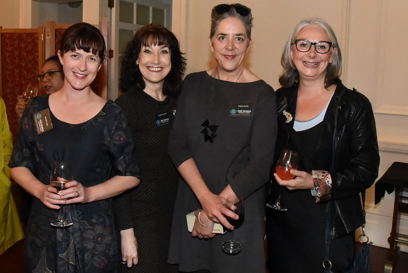 Image of Hannah Leahy and Elizabeth Caldwell of City Gallery with Dr Huhana Smith and Dr Claire Robinson of Massey University