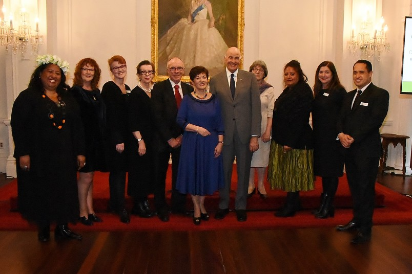 Image of Dame Patsy and Sir David with the members of the Nga Taonga board