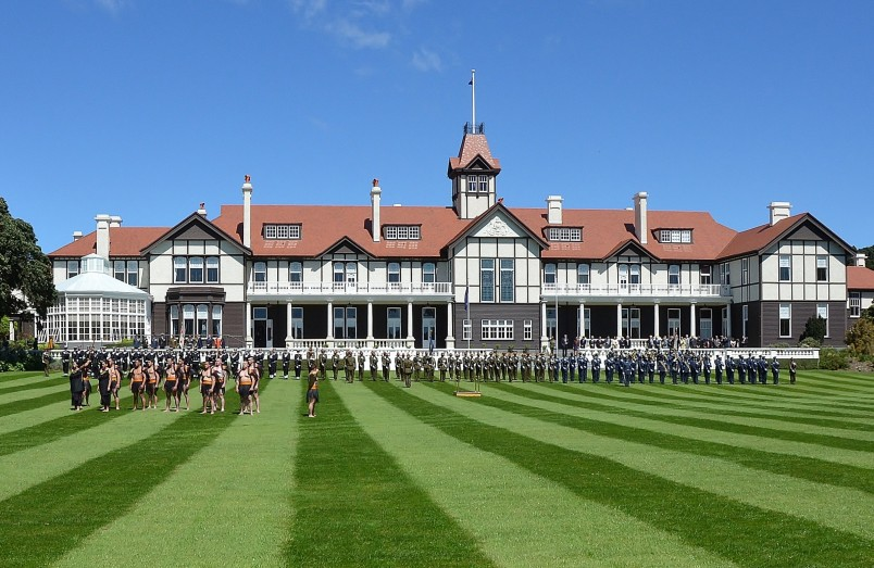 Image of the honour guard and cultural party in place on the North Lawn