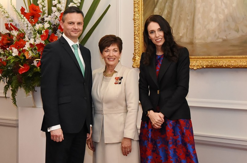 Image of Dame Patsy with PM-designate Jacinda Adern and Green Party leader James Shaw