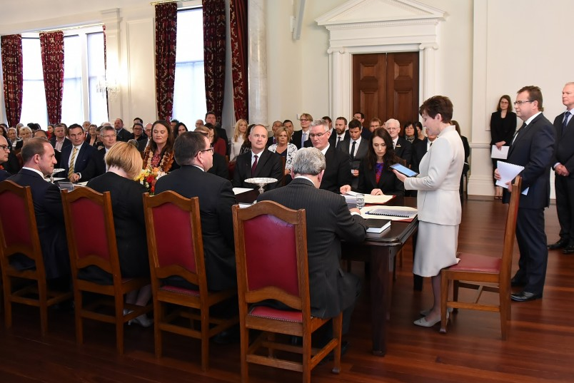 Image of Dame Patsy welcoming the soon-to-be Ministers and Under-Secretaries