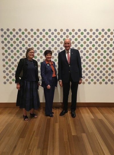 Their Excellencies, Jenny Harper and a Bridget Riley work