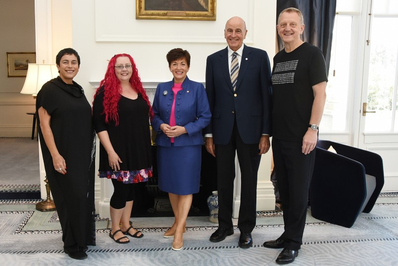 an image of Lisa Reihana, Dr Siouxsie Wiles and Colin MacDonald with Their Excellencies
