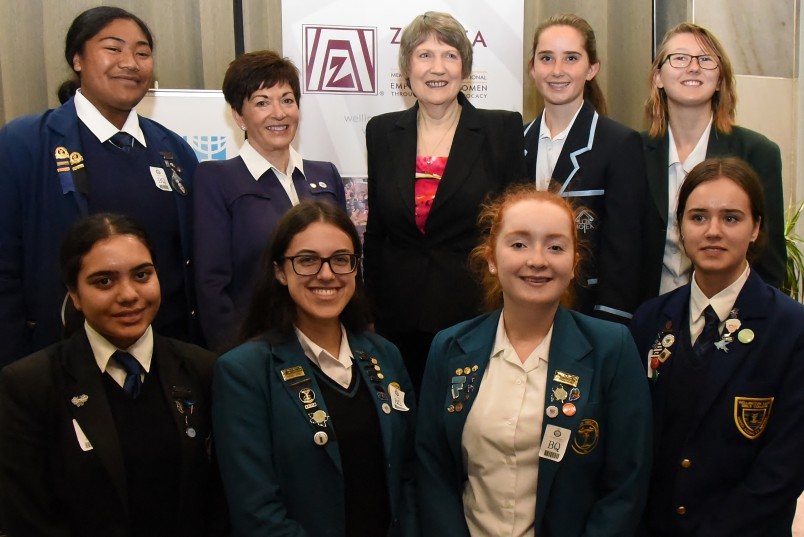 an image of Dame Patsy, The Rt Hon Helen Clark and school students