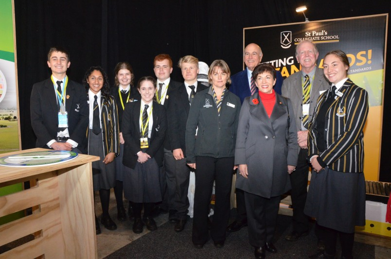 an image of Dame Patsy with St Paul's Collegiate school students
