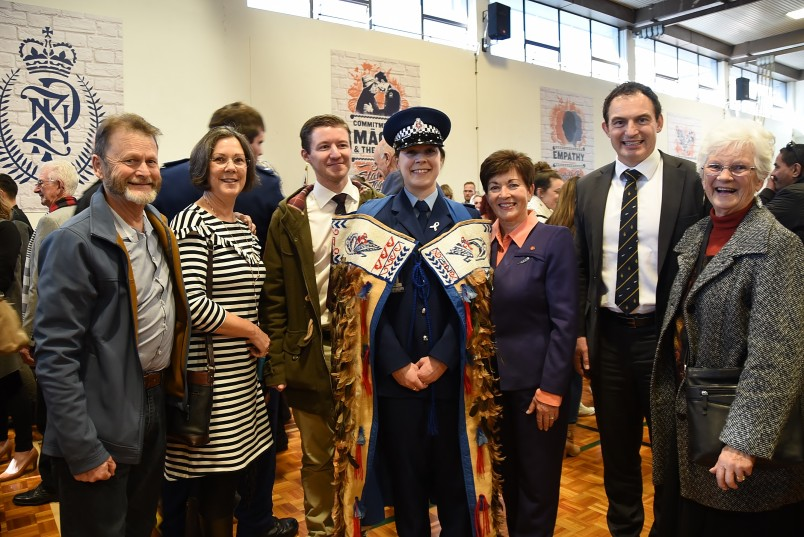 an image of Dame Patsy with Police Minister Hon Stuart Nash, Constable Zoe Bennett and her family