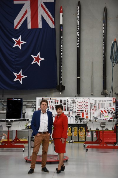 Image of Dame Patsy and Peter Beck in the Rocket Lab factory