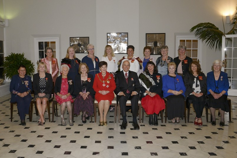 Image of recipients at the investiture with Dame Patsy and Sir David