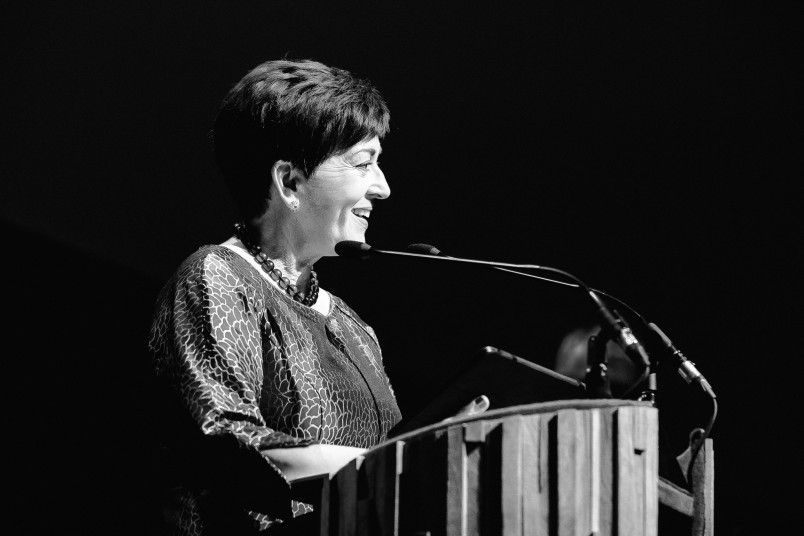 an image of Dame Patsy speaking at the Design Awards