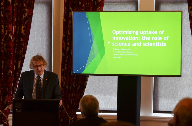 Image of Dr Stephen Goldson of AgResearch  speaking about the role of a trusted producer of science information.
