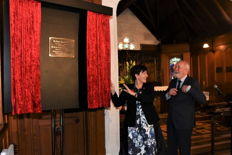 an image of Dame Patsy unveiling the plaque to mark the restoration and re-opening of the Nurses Memorial Chapel