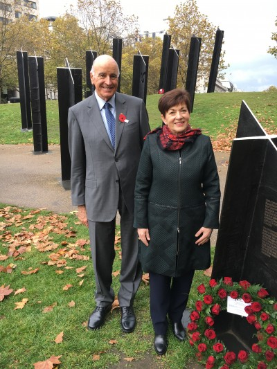an image of Dame Patsy and Sir David at the New Zealand Memorial in Hyde Park