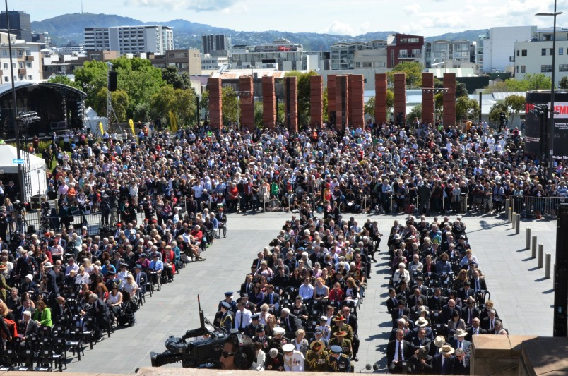 an image of The crowd gathered for the commemorative ceremony