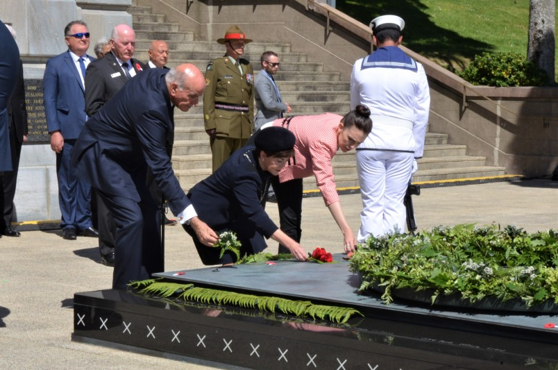 an image of Sir David, Dame Patsy and Prime Minister Jacinda Adern at the Tomb of the Unknown Warrior