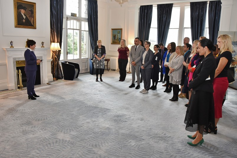 Image of Dame Patsy welcoming the Ministry for Women staff to Government House