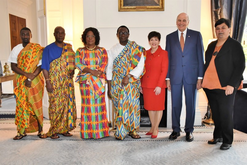 Image of High Commissioner for the Republic of Ghana, HE Mr Edwin Nii Adjei with Dame Patsy, Sir David, Minister for Maori Development, Hon Nanaia Mahuta and others