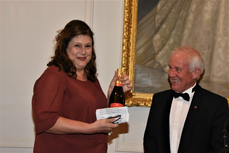 an image of Ms Paula Morris recipient of the Katherine Mansfield Menton Fellowship with Mr Richard Cathie, Chair of the Advisory Committee for the Fellowship