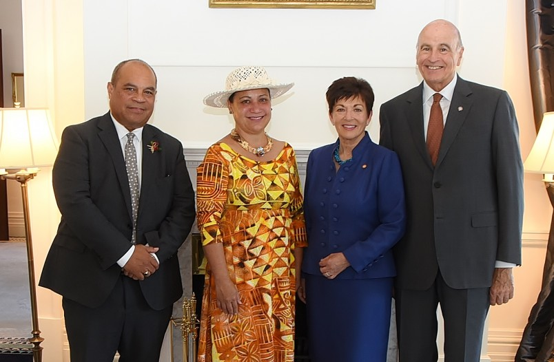 an image of Hon Aupito William Sio, HE Mrs Elizabeth Foster Wright-Koteka, Dame Patsy Reddy and Sir David Gascoigne