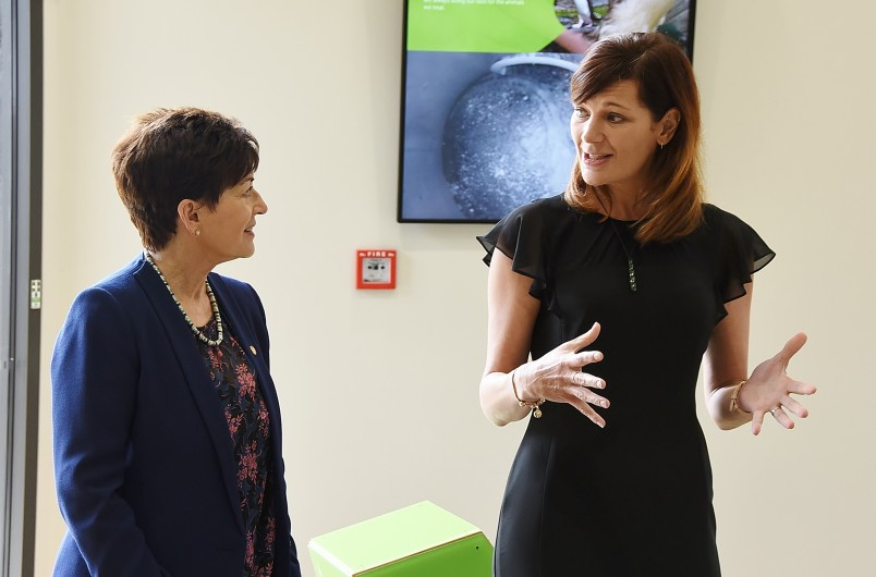 Image of Dame Patsy in the Education Centre with Suzanne Thomas, Wildbase Recovery Education and Programmes Officer