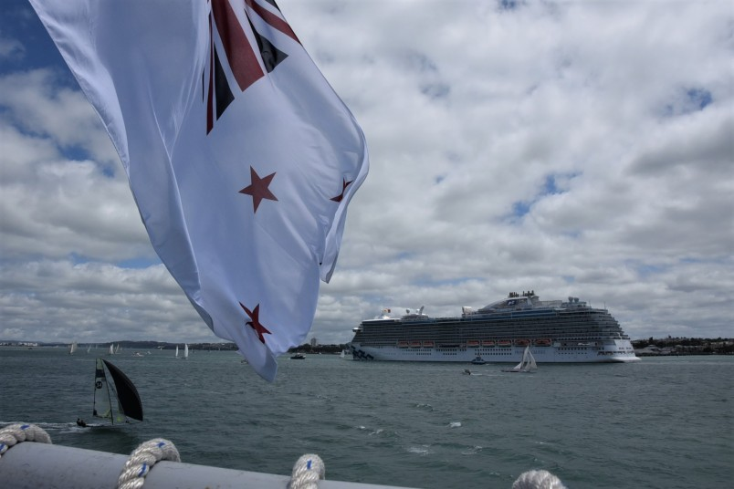 an image of A cruise ship and yachts from the stern of HMNZS Canterbury