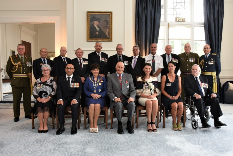 Their Excellencies, MiD Award recipients, Minister Ron Mark, Maj Gen John Boswell, Chief of Army and AVM Andrew Clark