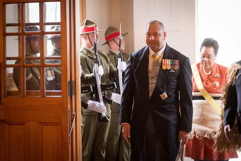 Image of The King and Queen of Tonga arriving at Government House