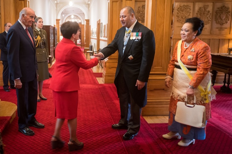 Image of Dame Patsy greeting the King of Tonga, King Tupou VI
