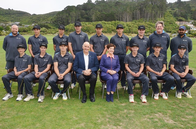 Image of Dame Patsy and Sir David with the NZ Maori Schools' XI
