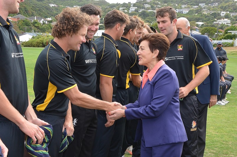 Image of Dame Patsy meeting the members of the Governor-General's XI