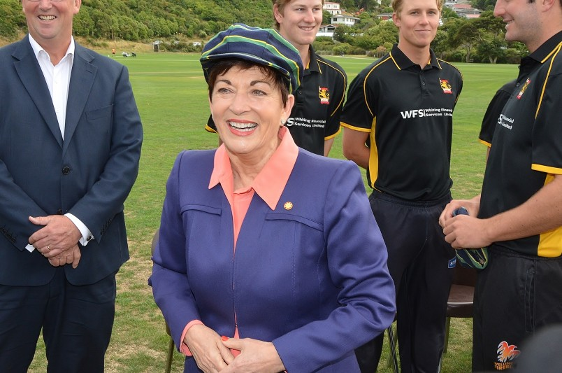 Image of Dame Patsy in the team cap