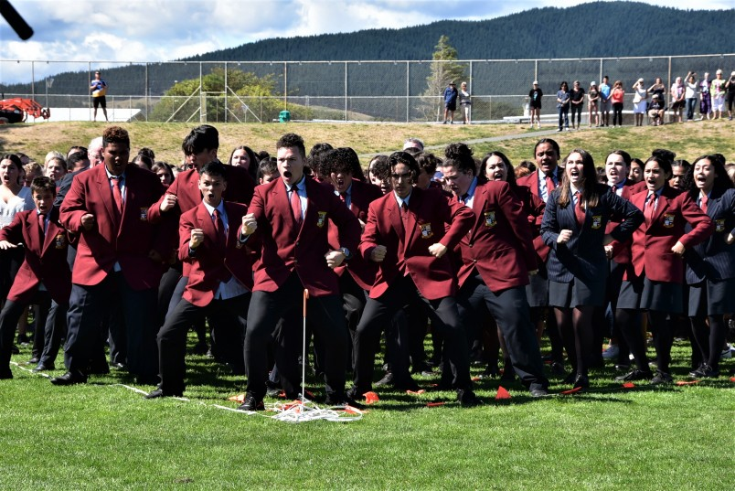 Some of the 1500 students performing a mass haka