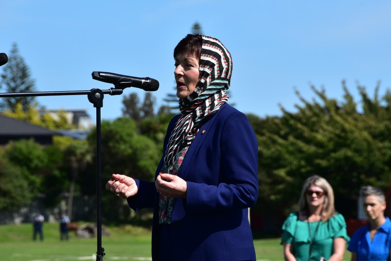 Dame Patsy addressing the students at Kapiti College