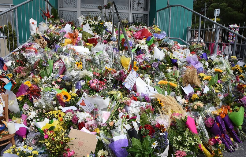 Image of flowers laid by members of the public at Kilbirnie Mosque