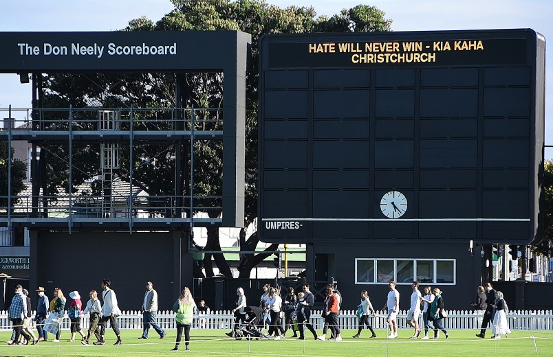 Image of the Basin Reserve scoreboard